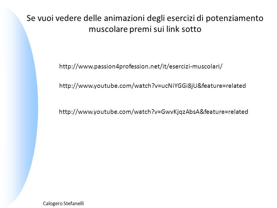 Calogero Stefanelli http://www.passion4profession.net/it/esercizi-muscolari/ Se vuoi vedere delle animazioni degli esercizi di potenziamento muscolare