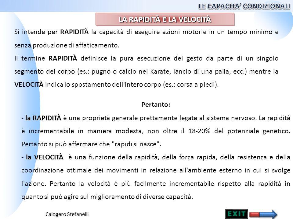 Calogero Stefanelli Si intende per RAPIDITÀ la capacità di eseguire azioni motorie in un tempo minimo e senza produzione di affaticamento. Il termine