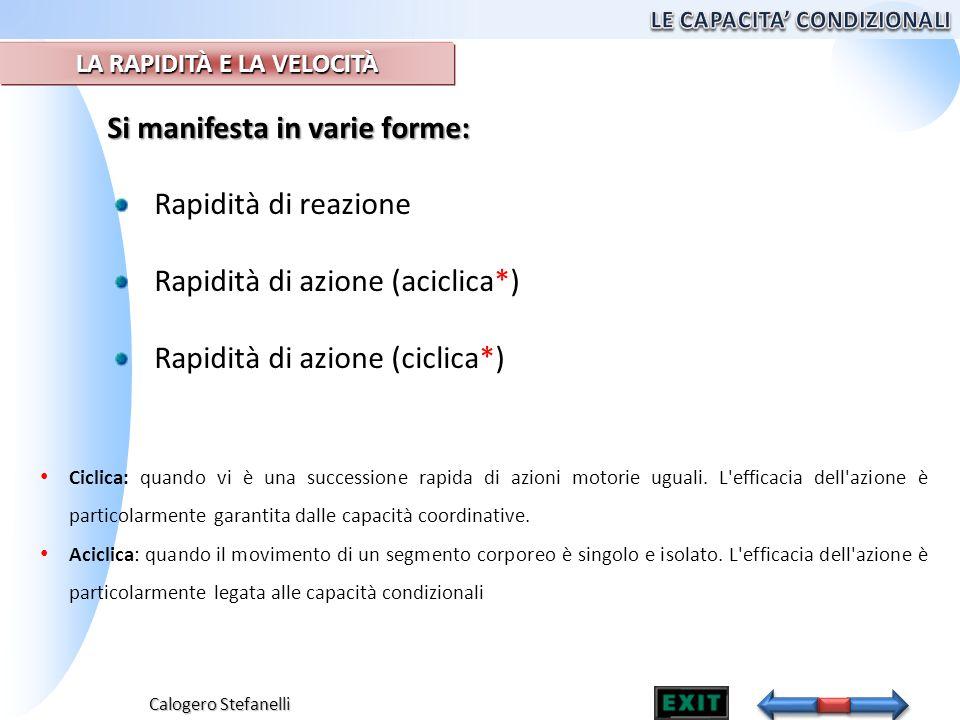 Calogero Stefanelli Si manifesta in varie forme: Rapidità di reazione Rapidità di azione (aciclica*) Rapidità di azione (ciclica*) Ciclica: quando vi