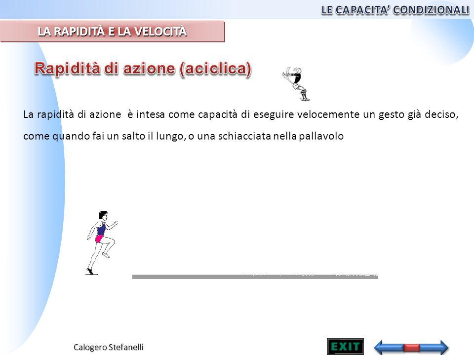 Calogero Stefanelli La rapidità di azione è intesa come capacità di eseguire velocemente un gesto già deciso, come quando fai un salto il lungo, o una