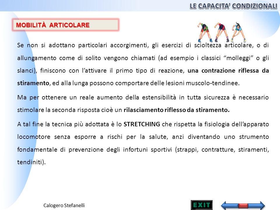 Calogero Stefanelli Se non si adottano particolari accorgimenti, gli esercizi di scioltezza articolare, o di allungamento come di solito vengono chiam