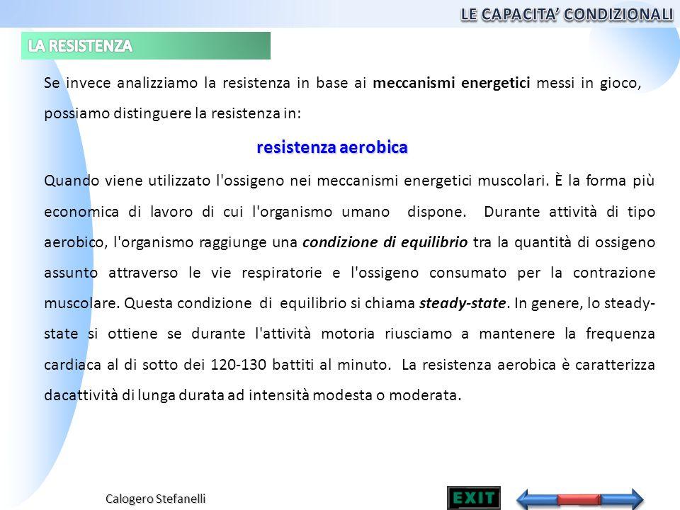 Calogero Stefanelli Se invece analizziamo la resistenza in base ai meccanismi energetici messi in gioco, possiamo distinguere la resistenza in: Quando