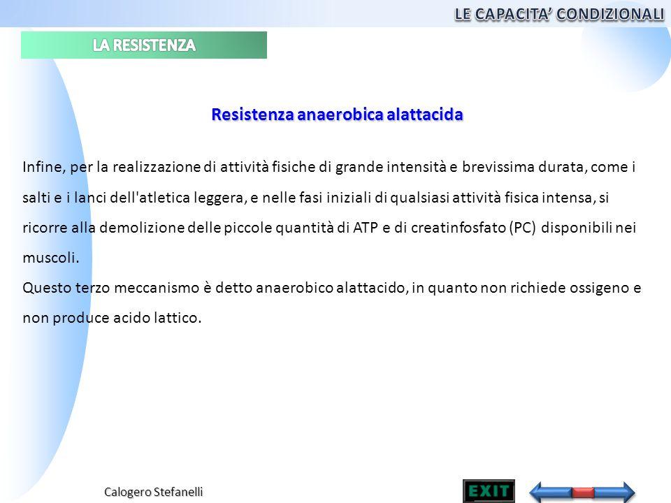 Calogero Stefanelli Resistenza anaerobica alattacida Infine, per la realizzazione di attività fisiche di grande intensità e brevissima durata, come i