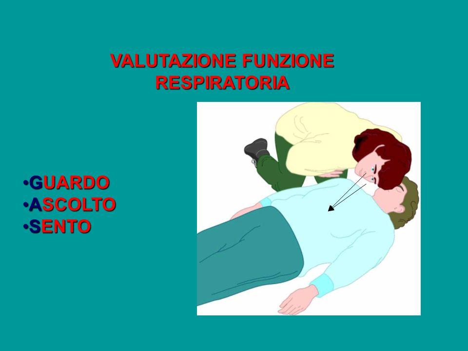 VALUTAZIONE FUNZIONE RESPIRATORIA GUARDOGUARDO ASCOLTOASCOLTO SENTOSENTO
