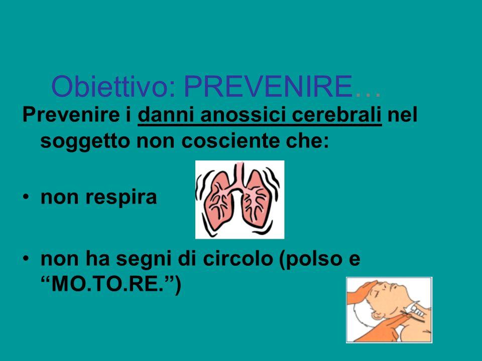 Obiettivo: PREVENIRE… Prevenire i danni anossici cerebrali nel soggetto non cosciente che: non respira non ha segni di circolo (polso e MO.TO.RE.)