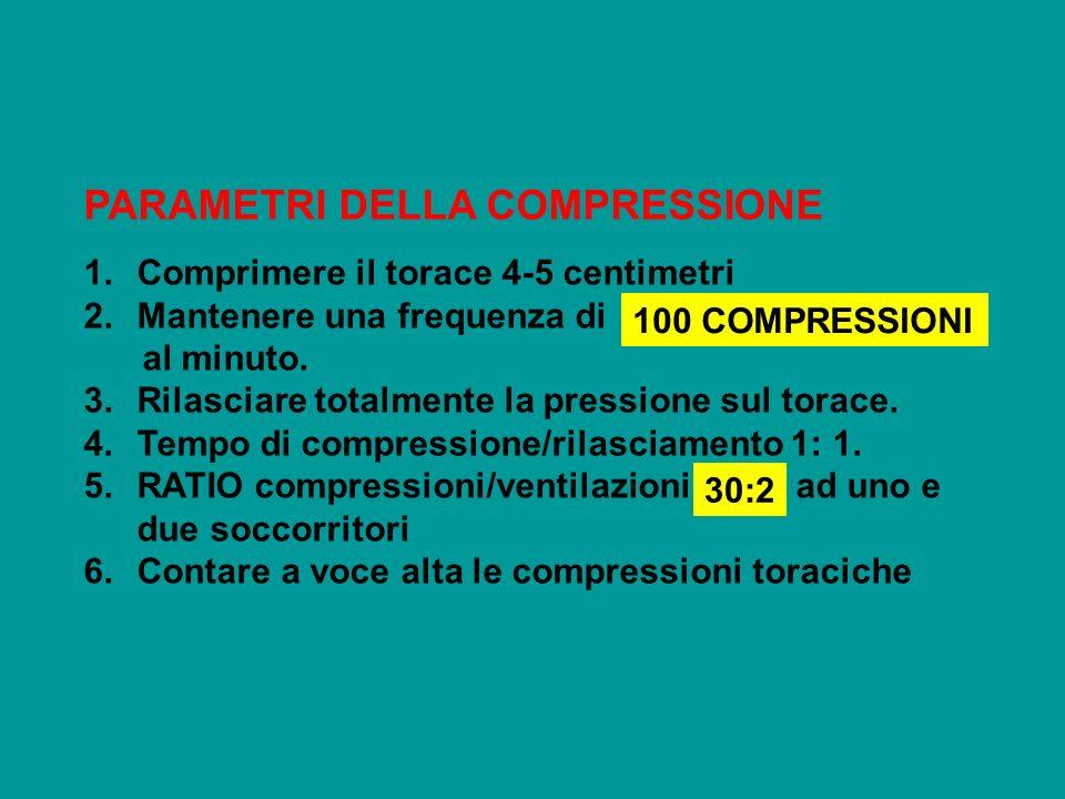 PARAMETRI DELLA COMPRESSIONE 1.Comprimere il torace 4-5 centimetri 2.Mantenere una frequenza di al minuto. 3.Rilasciare totalmente la pressione sul to