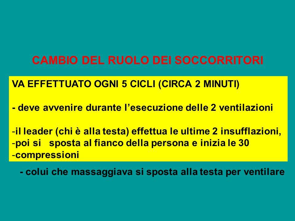CAMBIO DEL RUOLO DEI SOCCORRITORI VA EFFETTUATO OGNI 5 CICLI (CIRCA 2 MINUTI) - deve avvenire durante lesecuzione delle 2 ventilazioni -il leader (chi