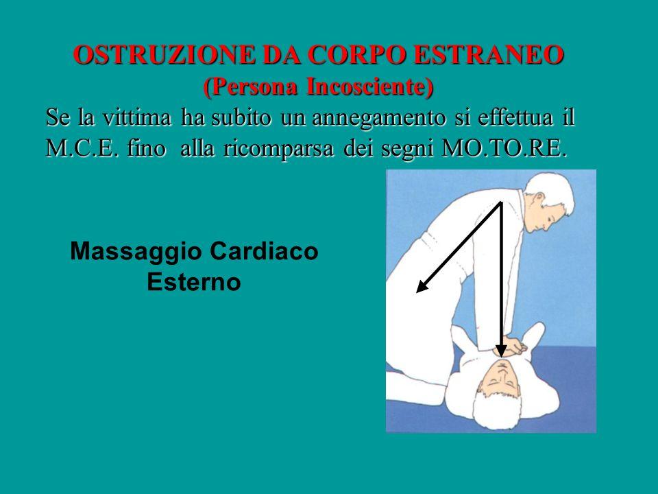 OSTRUZIONE DA CORPO ESTRANEO (Persona Incosciente) Se la vittima ha subito un annegamento si effettua il M.C.E. fino alla ricomparsa dei segni MO.TO.R