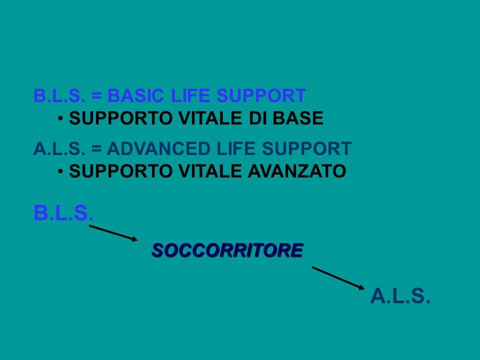 B.L.S. = BASIC LIFE SUPPORT SUPPORTO VITALE DI BASE A.L.S. = ADVANCED LIFE SUPPORT SUPPORTO VITALE AVANZATO B.L.S. SOCCORRITORE A.L.S.