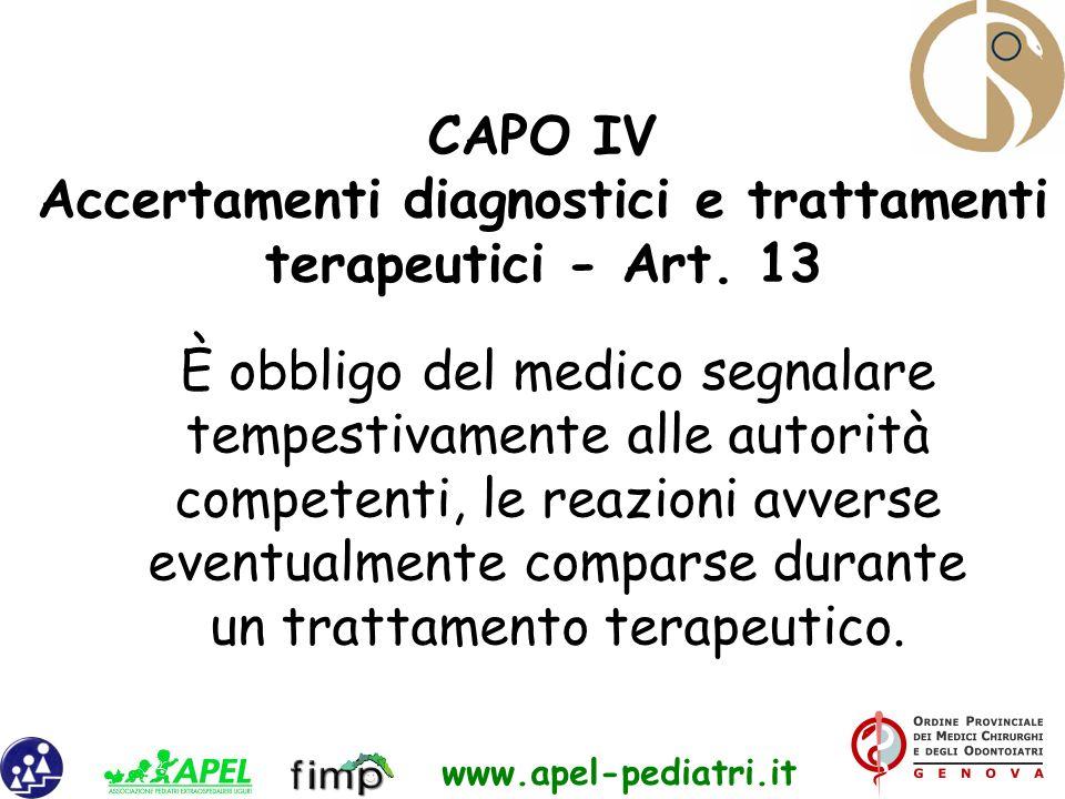 www.apel-pediatri.it È obbligo del medico segnalare tempestivamente alle autorità competenti, le reazioni avverse eventualmente comparse durante un tr