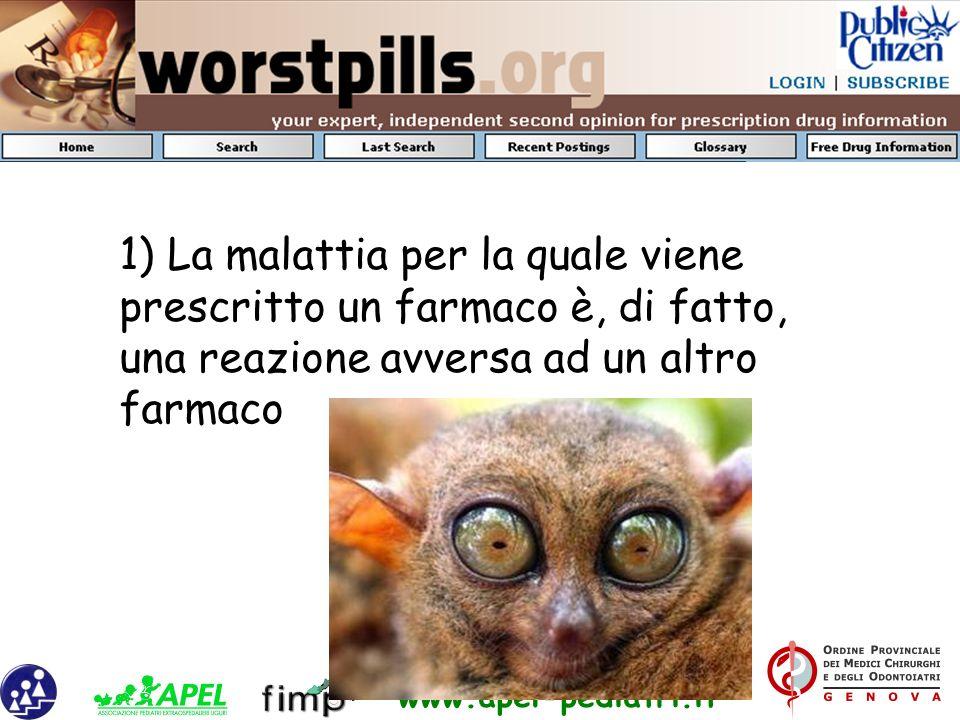 1) La malattia per la quale viene prescritto un farmaco è, di fatto, una reazione avversa ad un altro farmaco