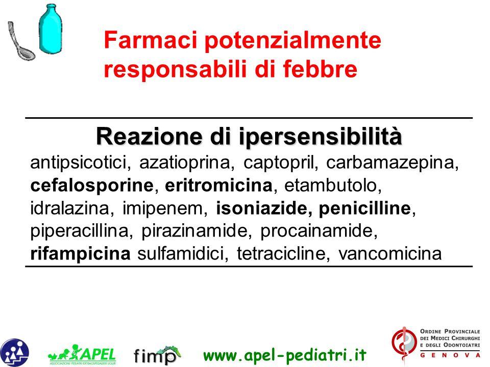 www.apel-pediatri.it Reazione di ipersensibilità antipsicotici, azatioprina, captopril, carbamazepina, cefalosporine, eritromicina, etambutolo, idrala