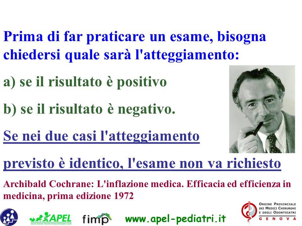 www.apel-pediatri.it Prima di far praticare un esame, bisogna chiedersi quale sarà l'atteggiamento: a) se il risultato è positivo b) se il risultato è