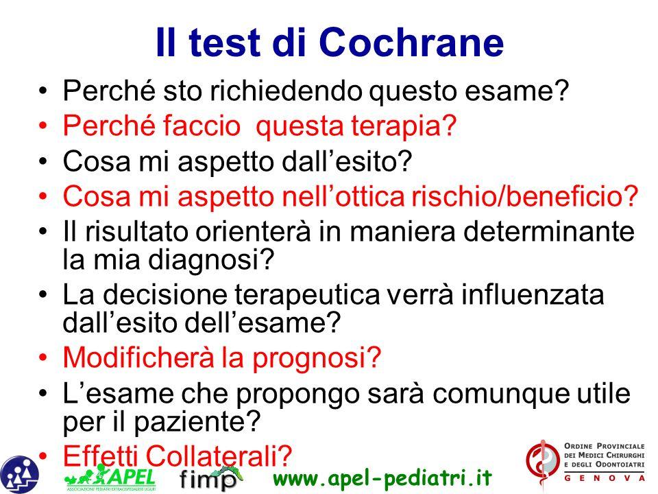 www.apel-pediatri.it Il test di Cochrane Perché sto richiedendo questo esame? Perché faccio questa terapia? Cosa mi aspetto dallesito? Cosa mi aspetto