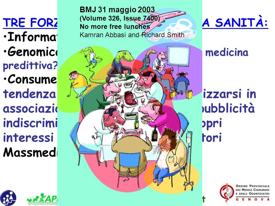 www.apel-pediatri.it TRE FORZE CHE INFLUENZANO LA SANITÀ: Informatica Genomica: da medicina preventiva a medicina predittiva? Consumerismo: tendenza d