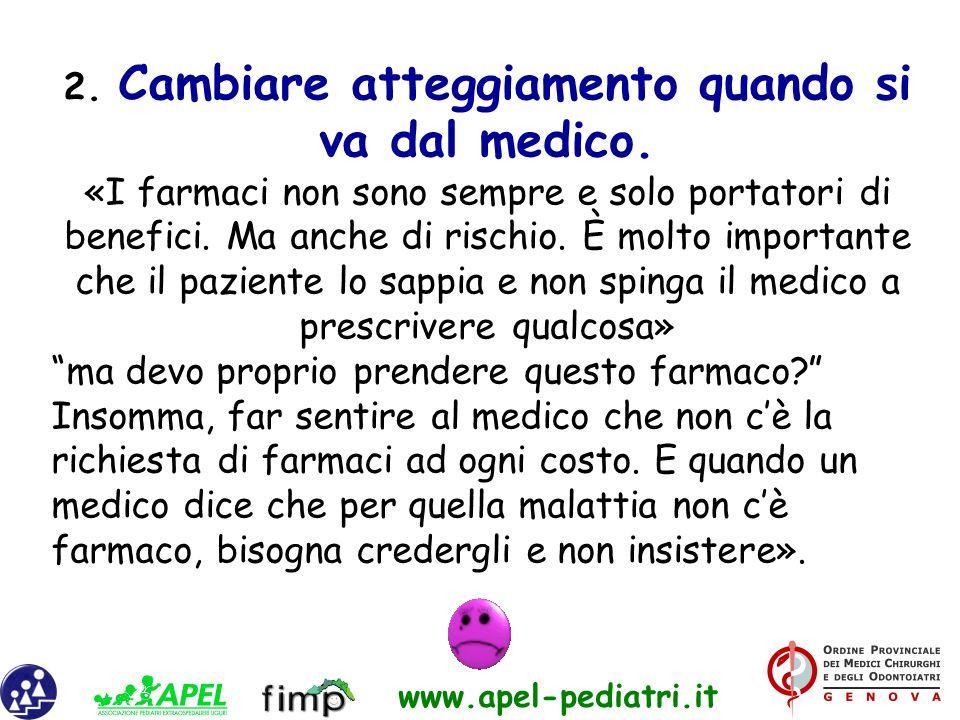 www.apel-pediatri.it 2. Cambiare atteggiamento quando si va dal medico. «I farmaci non sono sempre e solo portatori di benefici. Ma anche di rischio.