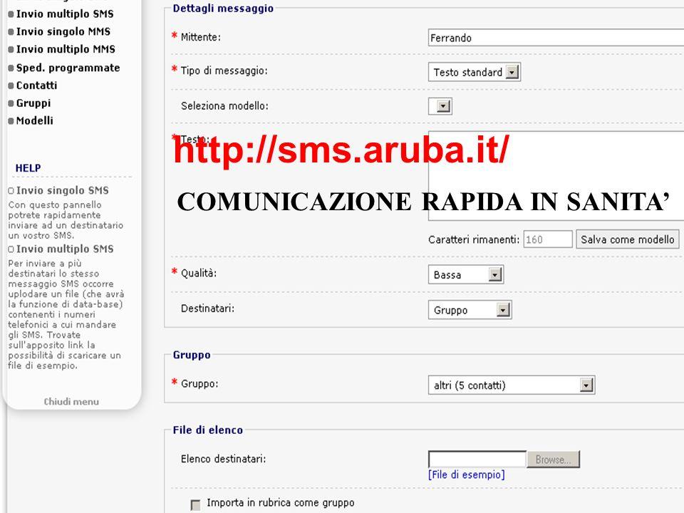 COMUNICAZIONE RAPIDA IN SANITA http://sms.aruba.it/
