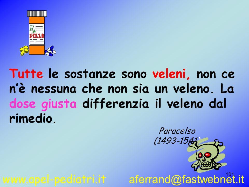 www.apel-pediatri.it aferrand@fastwebnet.it 101 Tutte le sostanze sono veleni, non ce nè nessuna che non sia un veleno. La dose giusta differenzia il