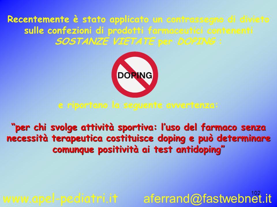 www.apel-pediatri.it aferrand@fastwebnet.it 102 Recentemente è stato applicato un contrassegno di divieto sulle confezioni di prodotti farmaceutici co