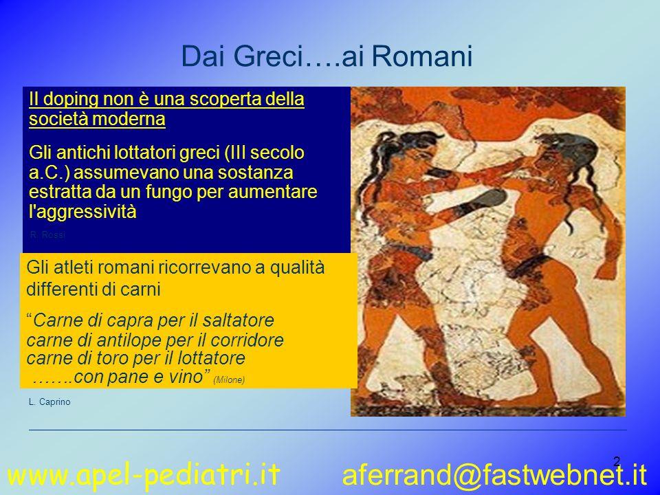 www.apel-pediatri.it aferrand@fastwebnet.it 2 Dai Greci….ai Romani Il doping non è una scoperta della società moderna Gli antichi lottatori greci (III