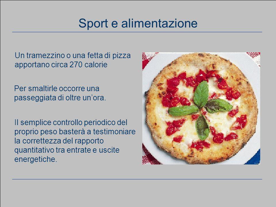 www.apel-pediatri.it aferrand@fastwebnet.it 21 Considerazioni generali Sport e alimentazione Un tramezzino o una fetta di pizza apportano circa 270 ca