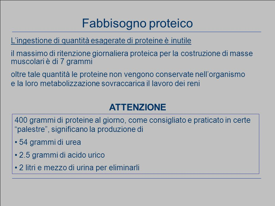 www.apel-pediatri.it aferrand@fastwebnet.it 25 Considerazioni generali Lingestione di quantità esagerate di proteine è inutile il massimo di ritenzion