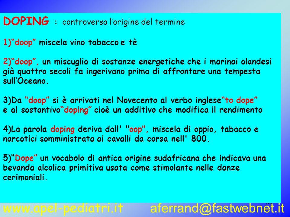 www.apel-pediatri.it aferrand@fastwebnet.it 39 DOPING : controversa lorigine del termine 1)doop miscela vino tabacco e tè 2)doop, un miscuglio di sost