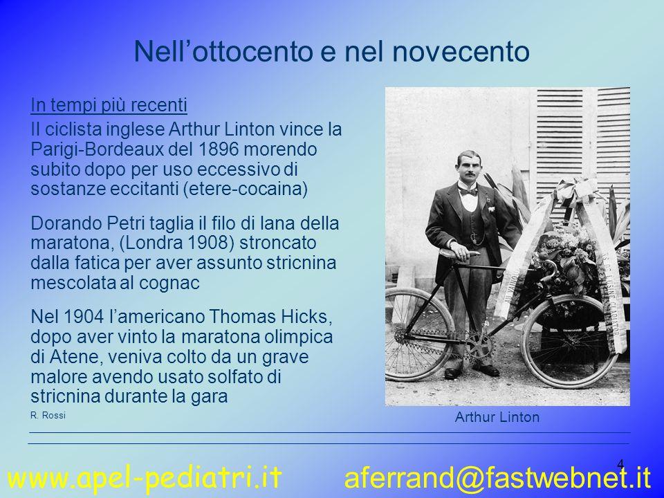 www.apel-pediatri.it aferrand@fastwebnet.it 4 In tempi più recenti Il ciclista inglese Arthur Linton vince la Parigi-Bordeaux del 1896 morendo subito