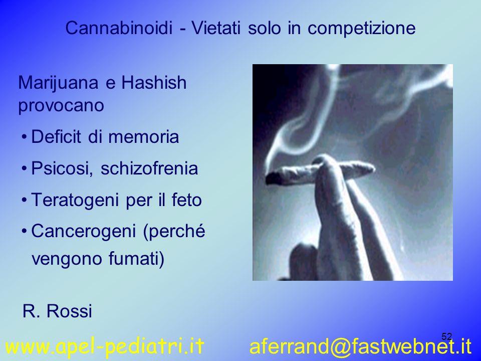 www.apel-pediatri.it aferrand@fastwebnet.it 52 Cannabinoidi - Vietati solo in competizione Deficit di memoria Psicosi, schizofrenia Teratogeni per il