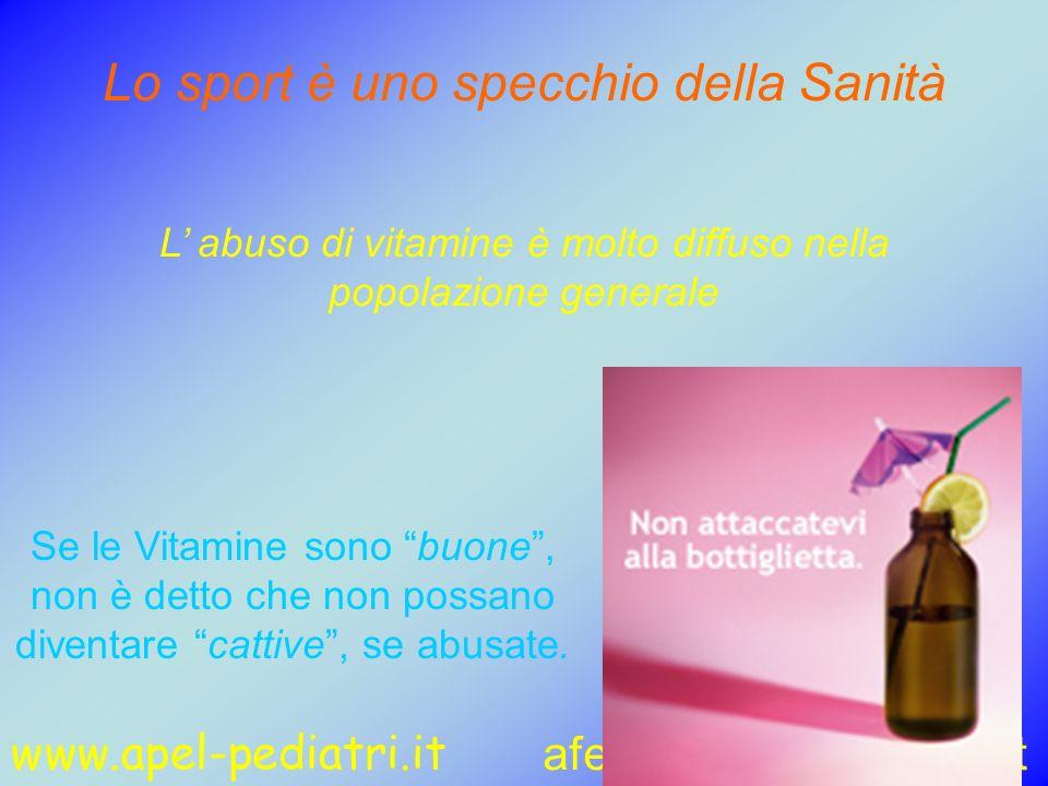 www.apel-pediatri.it aferrand@fastwebnet.it 58 Lo sport è uno specchio della Sanità L abuso di vitamine è molto diffuso nella popolazione generale Se