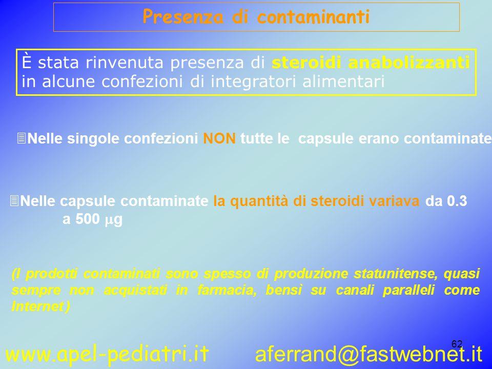 www.apel-pediatri.it aferrand@fastwebnet.it 62 Presenza di contaminanti È stata rinvenuta presenza di steroidi anabolizzanti in alcune confezioni di i