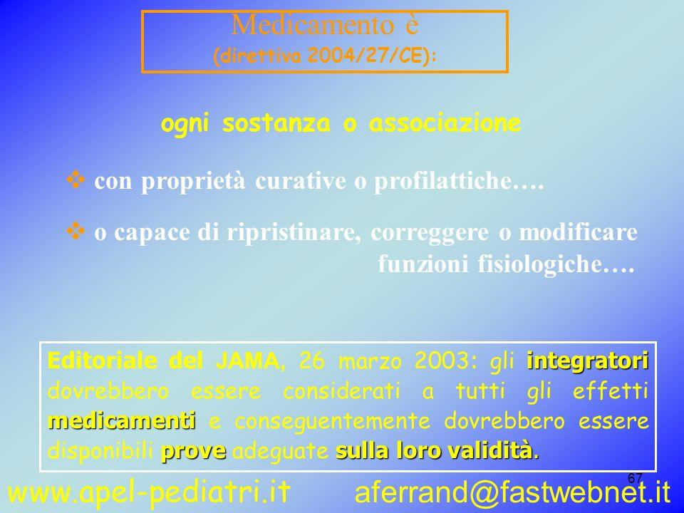www.apel-pediatri.it aferrand@fastwebnet.it 67 Medicamento è (direttiva 2004/27/CE): con proprietà curative o profilattiche…. o capace di ripristinare