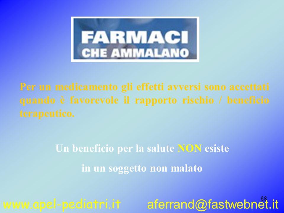 www.apel-pediatri.it aferrand@fastwebnet.it 68 Per un medicamento gli effetti avversi sono accettati quando è favorevole il rapporto rischio / benefic