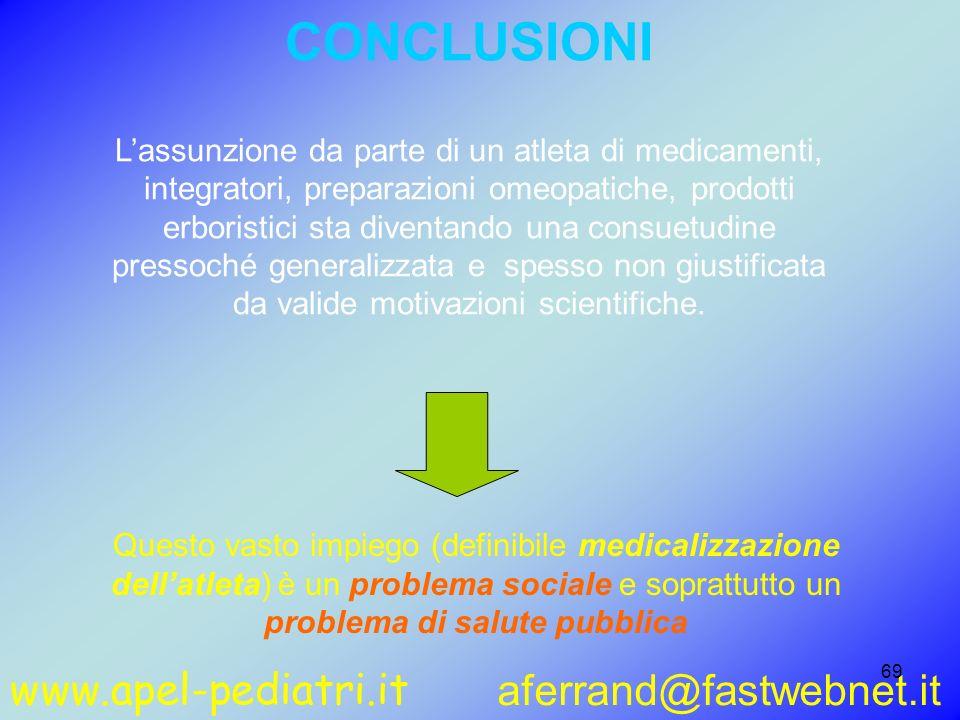 www.apel-pediatri.it aferrand@fastwebnet.it 69 CONCLUSIONI Lassunzione da parte di un atleta di medicamenti, integratori, preparazioni omeopatiche, pr