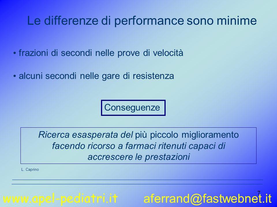www.apel-pediatri.it aferrand@fastwebnet.it 7 Le differenze di performance sono minime frazioni di secondi nelle prove di velocità alcuni secondi nell