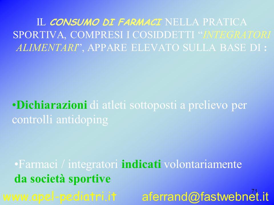 www.apel-pediatri.it aferrand@fastwebnet.it 71 IL CONSUMO DI FARMACI NELLA PRATICA SPORTIVA, COMPRESI I COSIDDETTI INTEGRATORI ALIMENTARI, APPARE ELEV