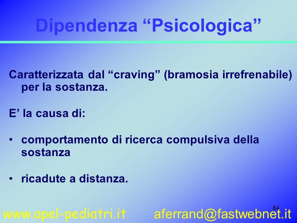 www.apel-pediatri.it aferrand@fastwebnet.it 84 Dipendenza Psicologica Caratterizzata dal craving (bramosia irrefrenabile) per la sostanza. E la causa
