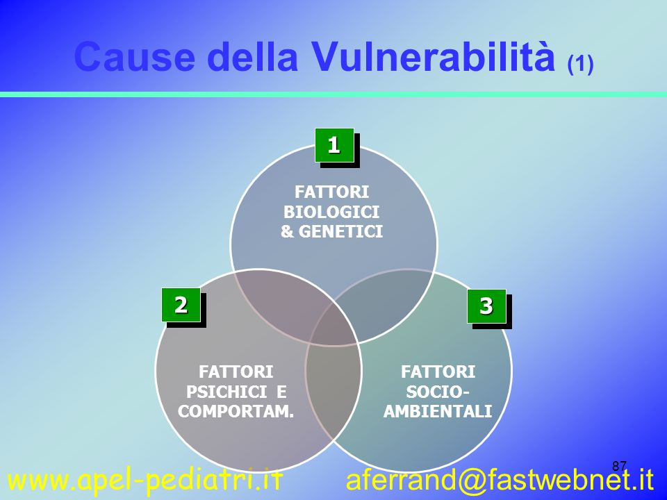 www.apel-pediatri.it aferrand@fastwebnet.it 87 Cause della Vulnerabilità (1) 11 FATTORI BIOLOGICI & GENETICI 22 FATTORI PSICHICI E COMPORTAM. FATTORI