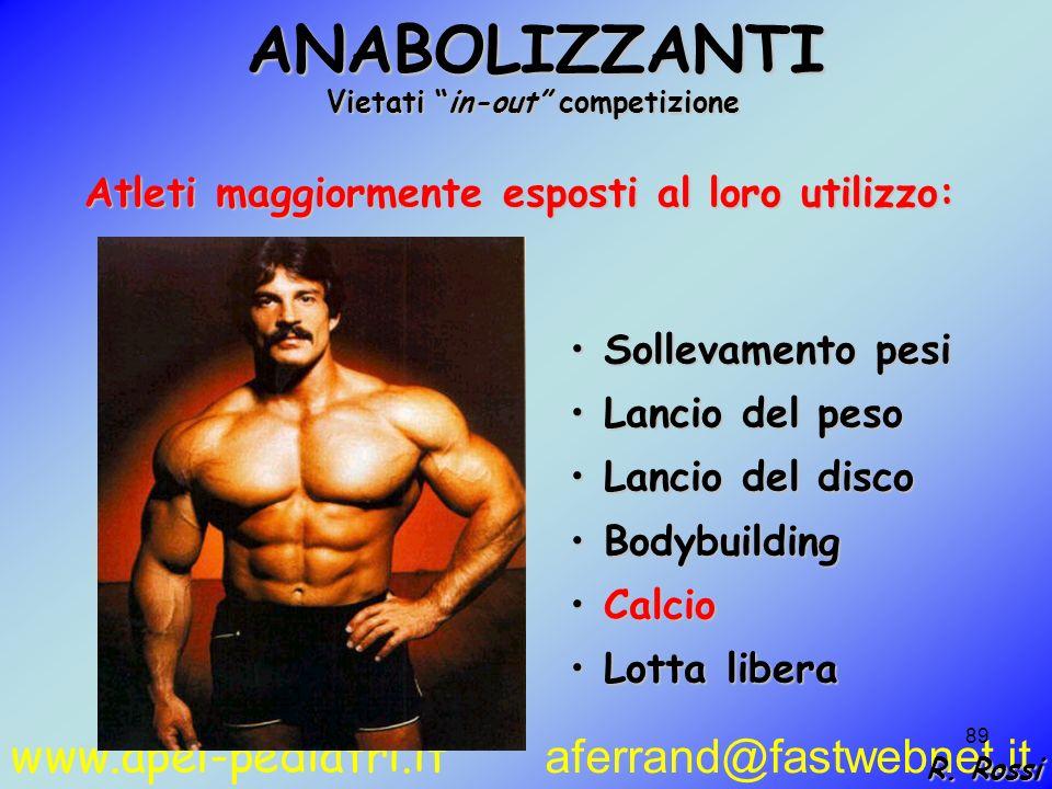 www.apel-pediatri.it aferrand@fastwebnet.it 89 Atleti maggiormente esposti al loro utilizzo: Sollevamento pesi Sollevamento pesi Lancio del peso Lanci