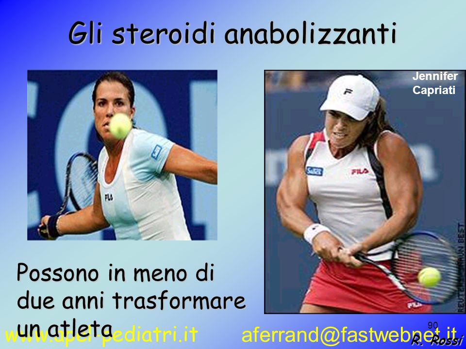 www.apel-pediatri.it aferrand@fastwebnet.it 90 Gli steroidi anabolizzanti Possono in meno di due anni trasformare un atleta Jennifer Capriati R. Rossi