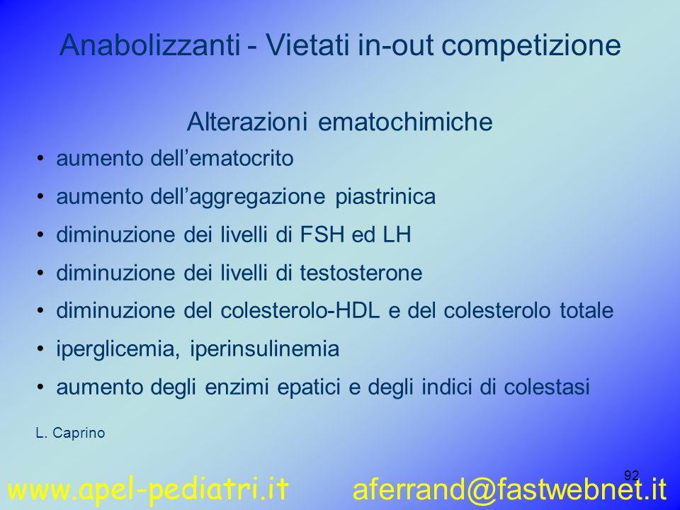 www.apel-pediatri.it aferrand@fastwebnet.it 92 aumento dellematocrito aumento dellaggregazione piastrinica diminuzione dei livelli di FSH ed LH diminu