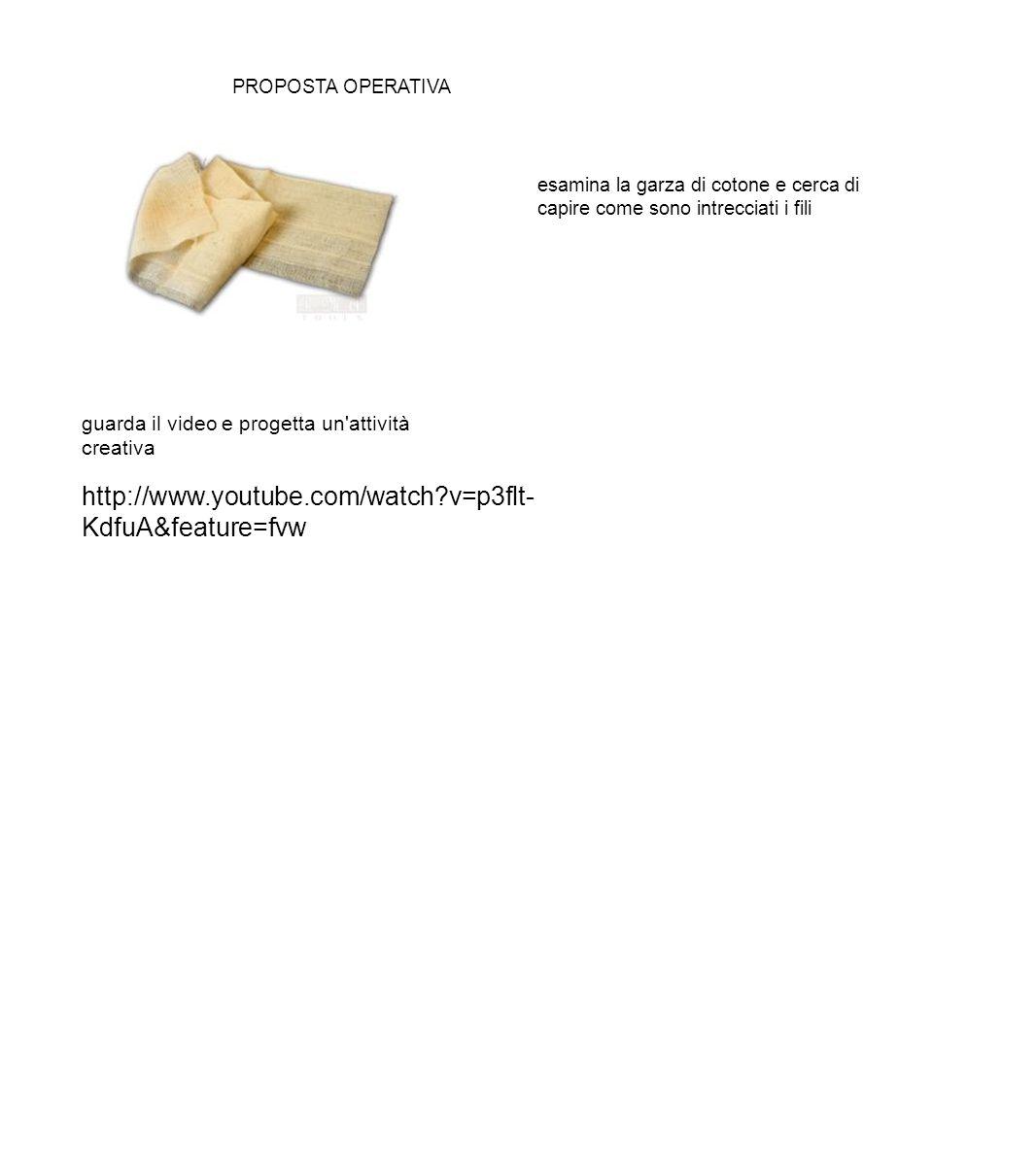 http://www.youtube.com/watch?v=p3flt- KdfuA&feature=fvw PROPOSTA OPERATIVA esamina la garza di cotone e cerca di capire come sono intrecciati i fili g