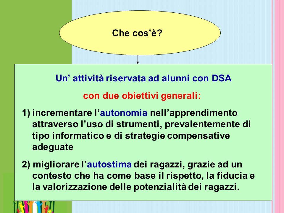 Che cosè? Un attività riservata ad alunni con DSA con due obiettivi generali: 1)incrementare lautonomia nellapprendimento attraverso luso di strumenti