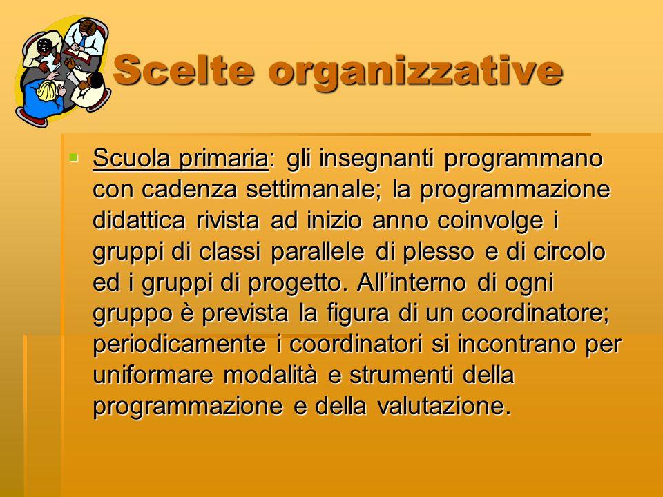 Scelte organizzative Scuola primaria: gli insegnanti programmano con cadenza settimanale; la programmazione didattica rivista ad inizio anno coinvolge