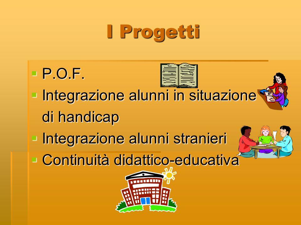 I Progetti P.O.F. P.O.F. Integrazione alunni in situazione Integrazione alunni in situazione di handicap Integrazione alunni stranieri Integrazione al