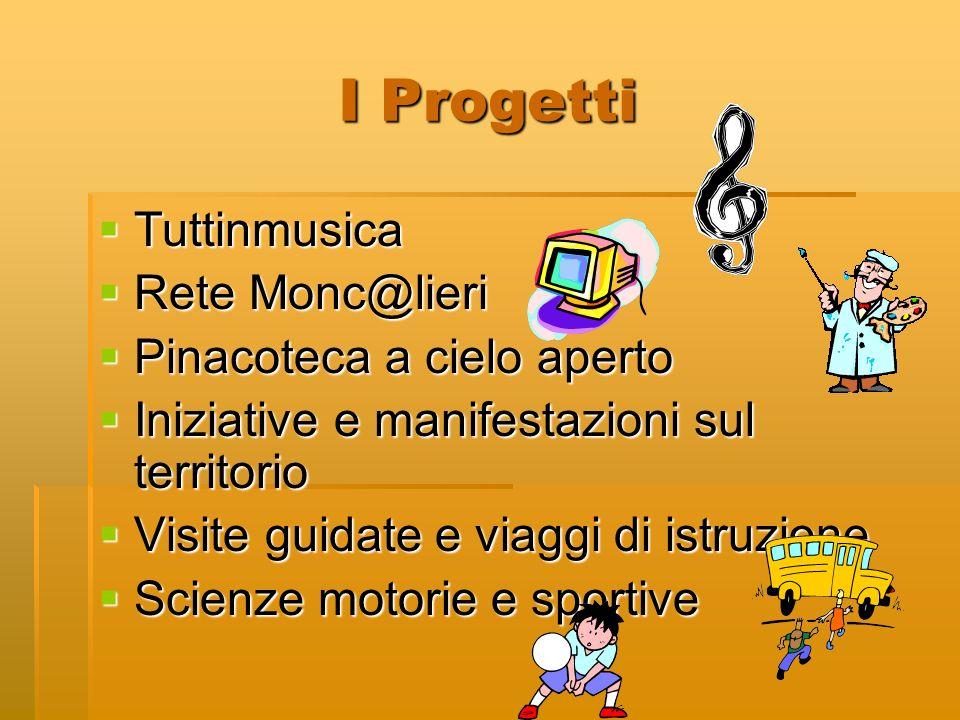 I Progetti Tuttinmusica Tuttinmusica Rete Monc@lieri Rete Monc@lieri Pinacoteca a cielo aperto Pinacoteca a cielo aperto Iniziative e manifestazioni s