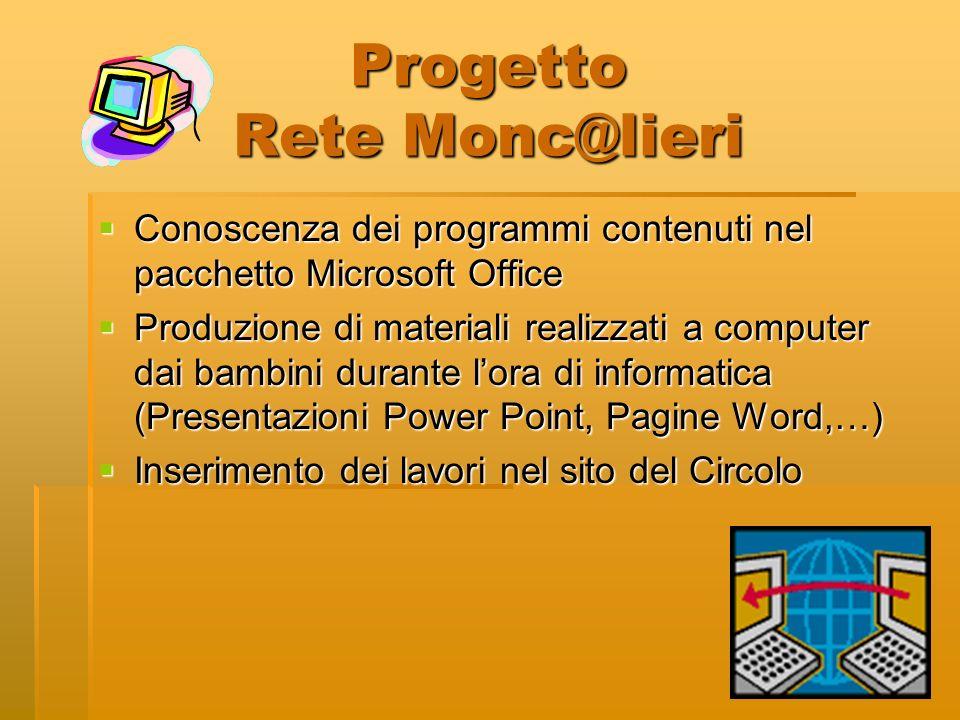 Progetto Rete Monc@lieri Conoscenza dei programmi contenuti nel pacchetto Microsoft Office Conoscenza dei programmi contenuti nel pacchetto Microsoft