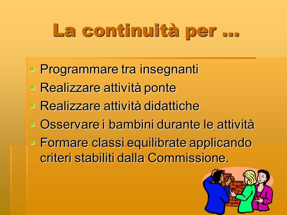 La continuità per … Programmare tra insegnanti Programmare tra insegnanti Realizzare attività ponte Realizzare attività ponte Realizzare attività dida