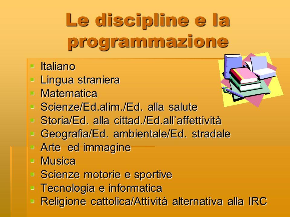 Le discipline e la programmazione Italiano Italiano Lingua straniera Lingua straniera Matematica Matematica Scienze/Ed.alim./Ed. alla salute Scienze/E