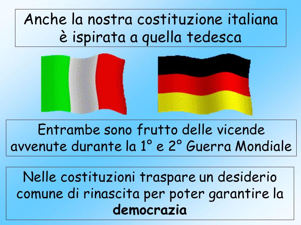 Anche la nostra costituzione italiana è ispirata a quella tedesca Entrambe sono frutto delle vicende avvenute durante la 1° e 2° Guerra Mondiale Nelle costituzioni traspare un desiderio comune di rinascita per poter garantire la democrazia